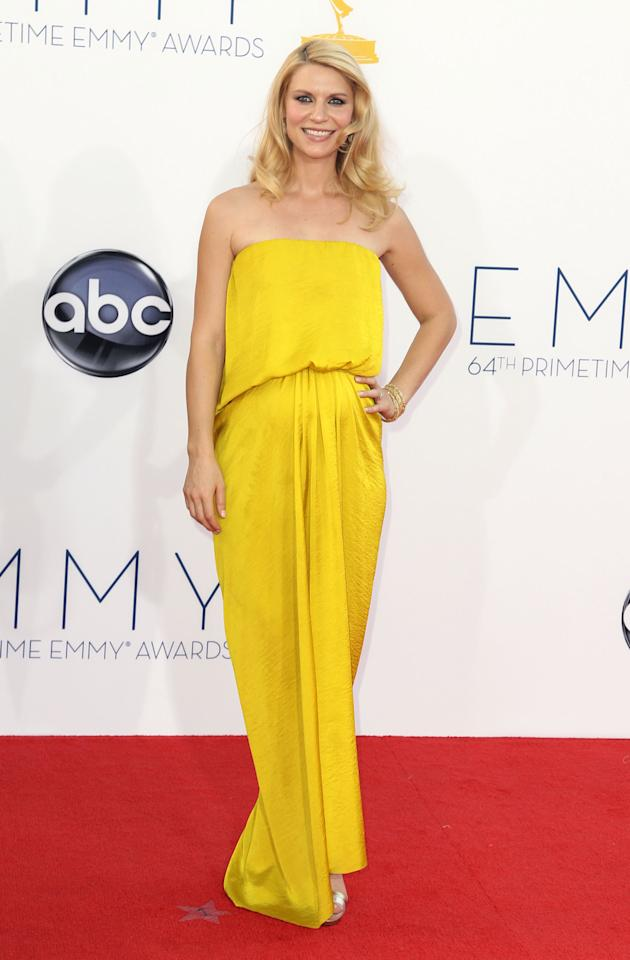 "Claire Danes from ""Homeland"" arrives at the 64th Primetime Emmy Awards at the Nokia Theatre on Sunday, Sept. 23, 2012, in Los Angeles. (Photo by Matt Sayles/Invision/AP)"