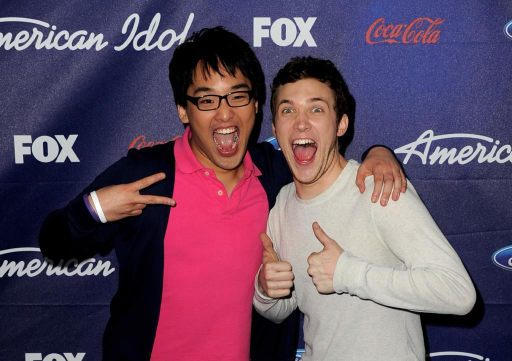"""Finalists Heejun Han and Phillip Phillips attend the Season 11 """"<a href=""""http://tv.yahoo.com/american-idol/show/34934"""">American Idol</a>"""" Top 13 Finalists Party on Thursday, March 1 at The Grove in Los Angeles, CA."""
