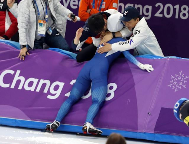 Speed Skating - Pyeongchang 2018 Winter Olympics - Women's Mass Start competition finals - Gangneung Oval - Gangneung, South Korea - February 24, 2018 - Bo-Reum Kim of South Korea reacts after winning a silver medal. REUTERS/Lucy Nicholson