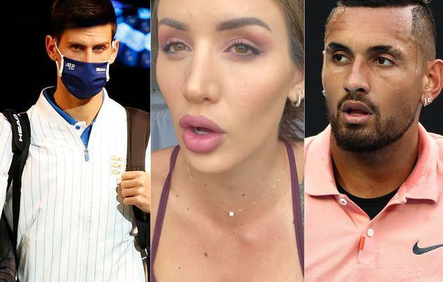 Australian tennis player Nick Kyrgios (R) has no time for Australian Open players such as Novak Djokovic (L) and partners like Bernard Tomic's girlfriend Vanessa Sierra (C) moaning about hotel quarantine.