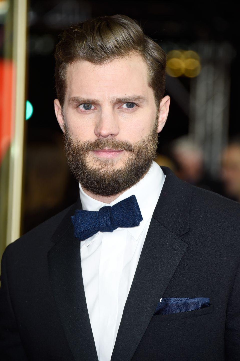 <p>We'll just say it: Dornan's full lumberjack beard is 50 shades of manly and without it, well, you'll see...</p>