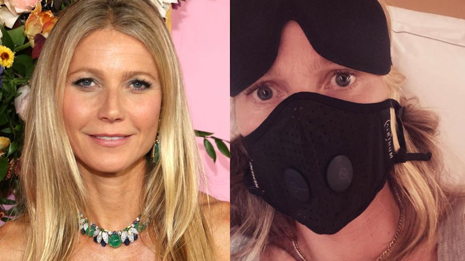 Gwyneth Paltrow is receiving backlash for insinuating she was a trendsetter for wearing masks in 2020. (Images Getty Images/InstagramGwynethPaltrow)