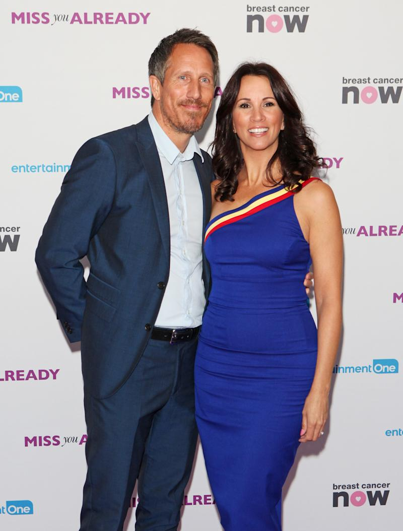 "LONDON, ENGLAND - SEPTEMBER 17: Nick Feeney (L) and Andrea McLean attend the European Premiere of ""Miss You Already"" at Vue West End on September 17, 2015 in London, England. (Photo by David M. Benett/Dave Benett/WireImage)"