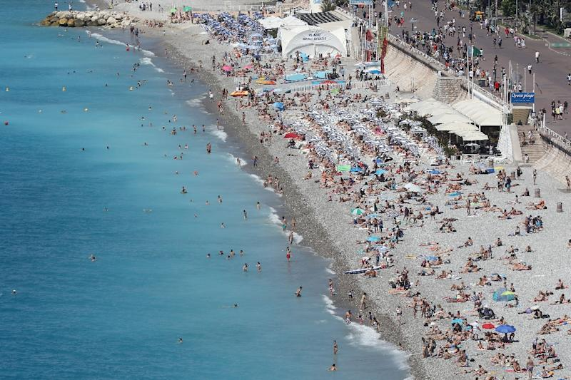 A general view of the beach and the Promenade des Anglais in the French riviera city of Nice three days after deadly attack on Bastille day