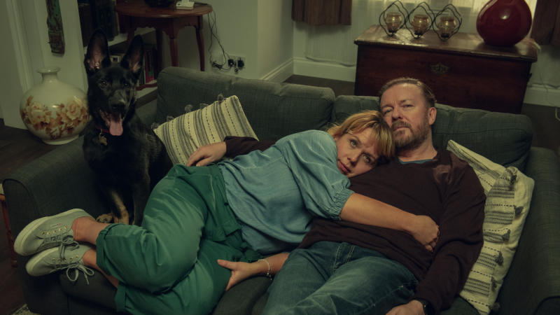 Kerry Godliman and Ricky Gervais in 'After Life'. (Credit: Ray Burmiston/Netflix)