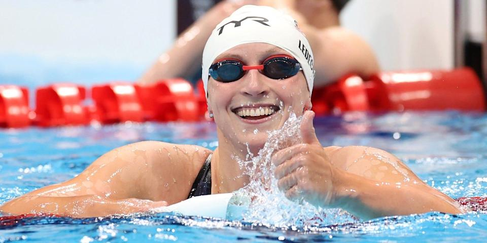 Katie Ledecky gives a thumbs-up at the Tokyo Olympics.