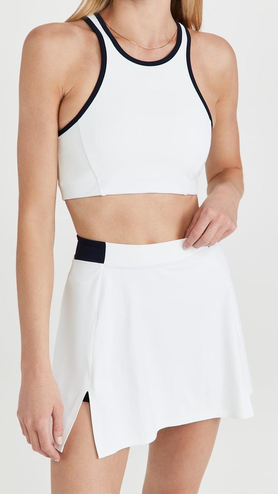 <p>As a former tennis player, I am thrilled about the rise in tennis fashion. I'd work out in this <span>Splits59 Blake Bra</span> ($78) and <span>Blake Regular Rise Techflex Skort</span> ($128) anytime.</p>