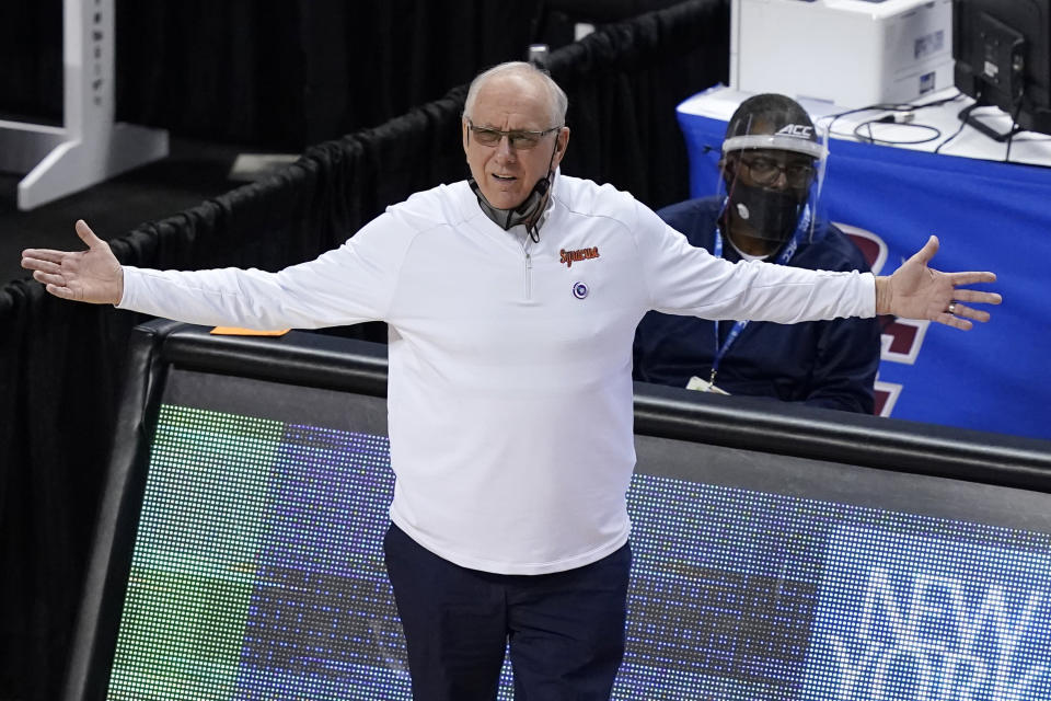 Syracuse head coach Jim Boeheim reacts to a call during the second half of an NCAA college basketball game against Virginia in the quarterfinal round of the Atlantic Coast Conference tournament in Greensboro, N.C., Thursday, March 11, 2021. (AP Photo/Gerry Broome)