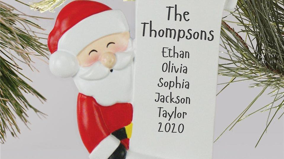 Best gifts under $30: Personalized Santa Christmas ornament