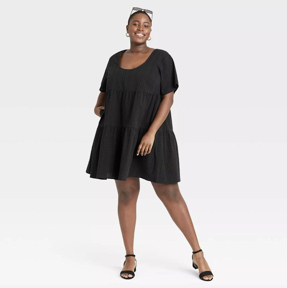 <p>Feel light and easy in this <span>A New Day Short Sleeve Tiered Dress</span> ($25).</p>