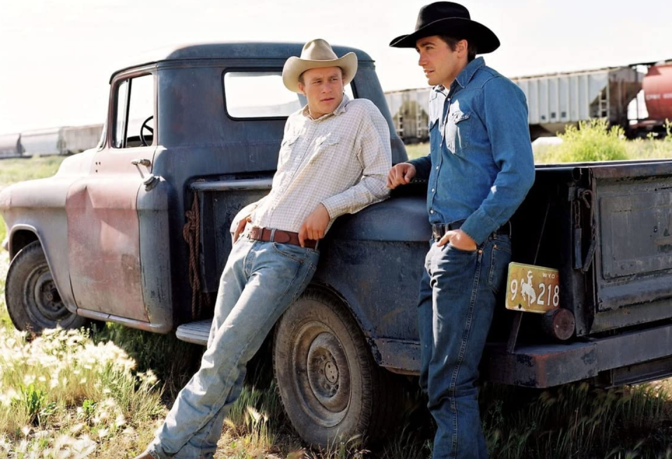 <p>Jake Gyllenhaal and Heath Ledger brought back the Canadian tuxedo in their film, <em>Brokeback Mountain</em>. Proving that no amount of denim is too much denim, their characters pair dark wash and medium wash pieces for a head-to-toe look. </p>