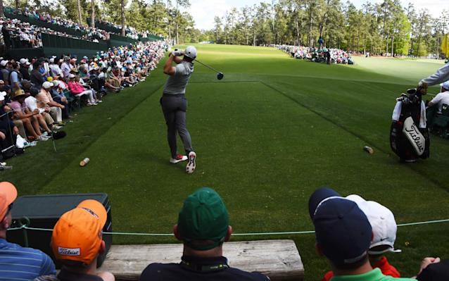 <span>McIlroy drives on Augusta National's 14th last year</span> <span>Credit: AFP </span>