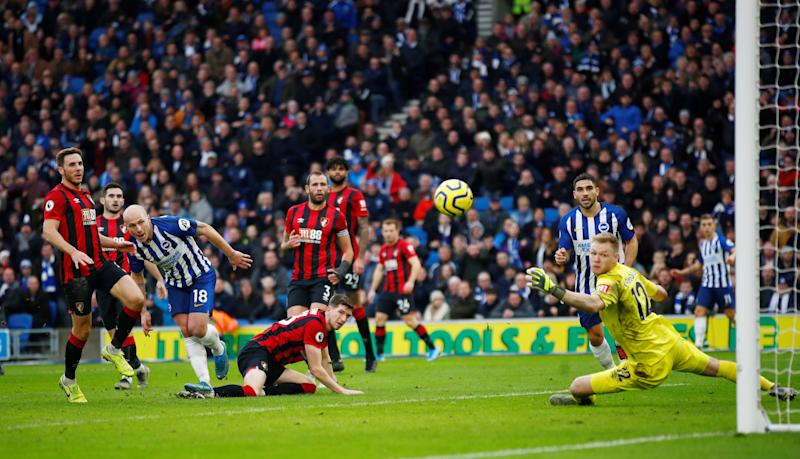 "Soccer Football - Premier League - Brighton & Hove Albion v AFC Bournemouth - The American Express Community Stadium, Brighton, Britain - December 28, 2019 Brighton & Hove Albion's Aaron Mooy scores their second goal REUTERS/Eddie Keogh EDITORIAL USE ONLY. No use with unauthorized audio, video, data, fixture lists, club/league logos or ""live"" services. Online in-match use limited to 75 images, no video emulation. No use in betting, games or single club/league/player publications. Please contact your account representative for further details."