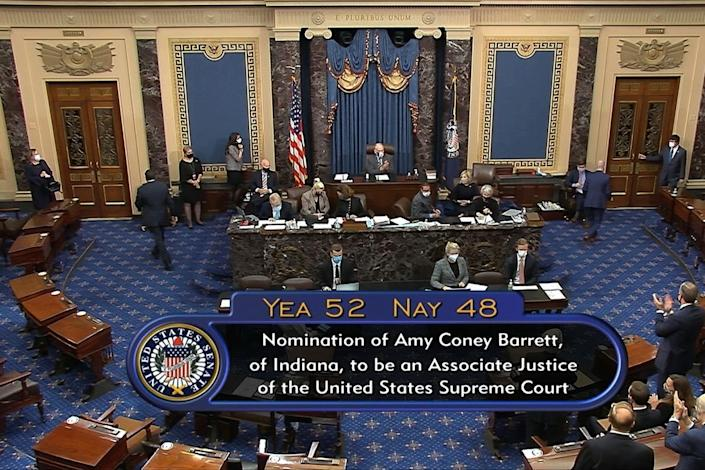 In this image from video, the vote total in the U.S. Senate on the confirmation of Amy Coney Barrett to become a Supreme Court justice is seen Oct. 26, 2020.