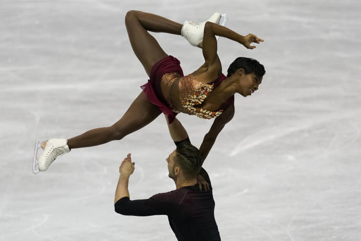 FILE - France's Vanessa James and Morgan Cipres perform their pairs short program during the ISU World Team Trophy Figure Skating competition in Fukuoka, southwestern Japan, in this Friday, April 12, 2019, file photo. Two-time Olympian Vanessa James of France will be performing at Figure Skating in Harlem's 2021 Champions in Life Virtual Gala on Thursday, April 22, 2021. (AP Photo/Toru Hanai, File)