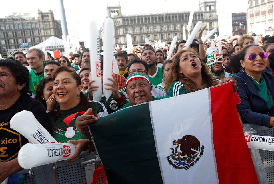 Fans crowd the streets of Mexico City for a watch party ahead of Mexico's World Cup opener against Germany. (Via Reuters)