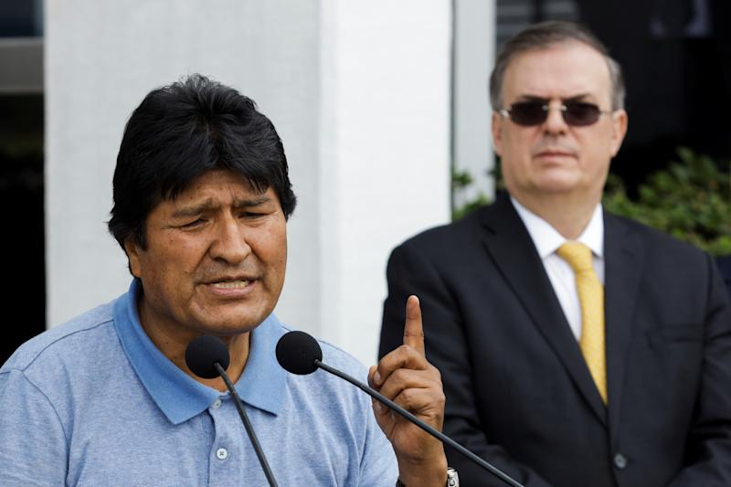 Bolivia's ousted President Evo Morales speaks during his arrival to take asylum in Mexico, in Mexico City, Mexico, November 12, 2019. REUTERS/Luis Cortes
