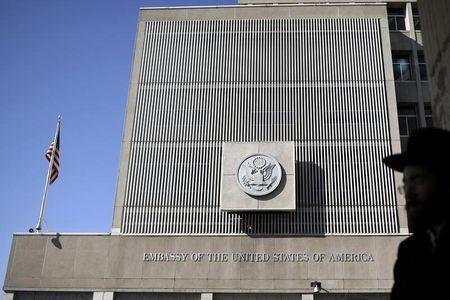 FILE PHOTO - The front of the U.S. embassy is seen in Tel Aviv