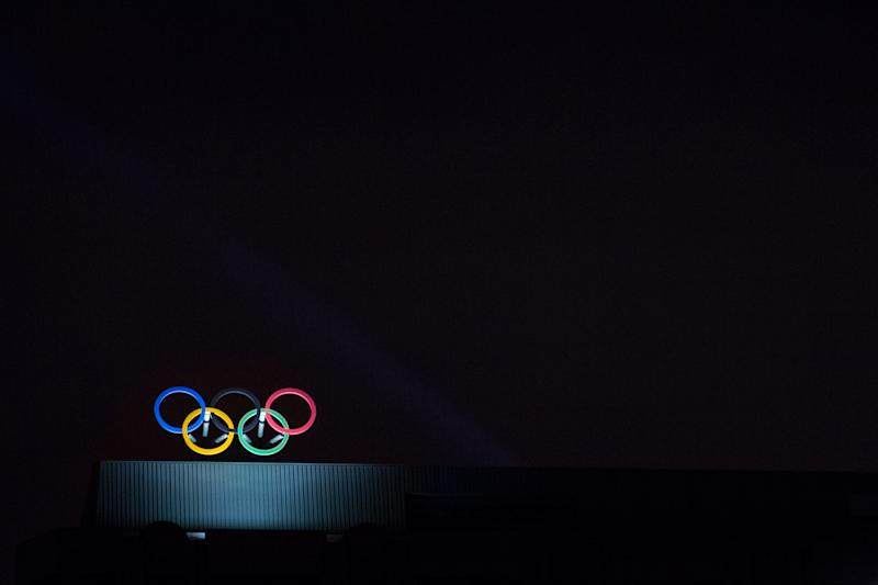 Picture of the Olympic Rings on the Montreal International Olympic Committee (IOC) building (Canada), built for the 1976 Summer Olympic Games