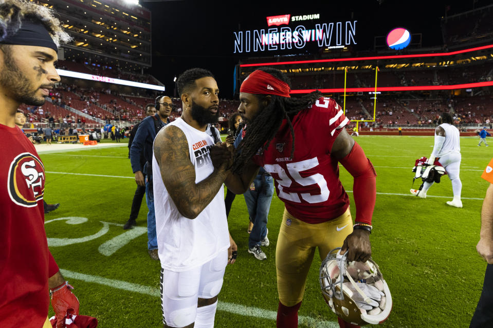 Browns wide receiver Odell Beckham Jr. and 49ers cornerback Richard Sherman exchange postgame pleasantries in early October. (Photo by Ric Tapia/Icon Sportswire via Getty Images)