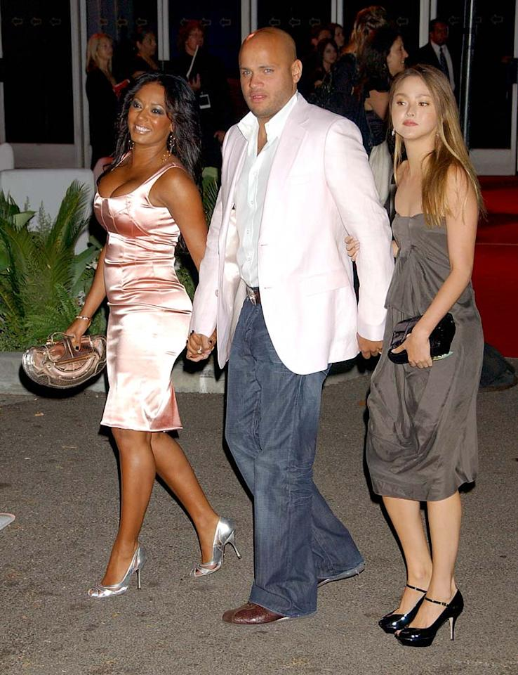"Three's company! ""Scary Spice"" Melanie Brown arrives with boyfriend Stephen Belafonte and Devon Aoki. Gregg DeGuire/<a href=""http://www.wireimage.com"" target=""new"">WireImage.com</a> - July 22, 2007"