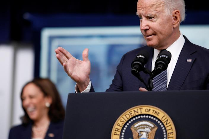 U.S. President Joe Biden delivers remarks about Child Tax Credit tax relief payments during a speech in the Eisenhower Executive Office Building's South Court Auditorium at the White House in Washington, U.S., July 15, 2021. REUTERS/Tom Brenner