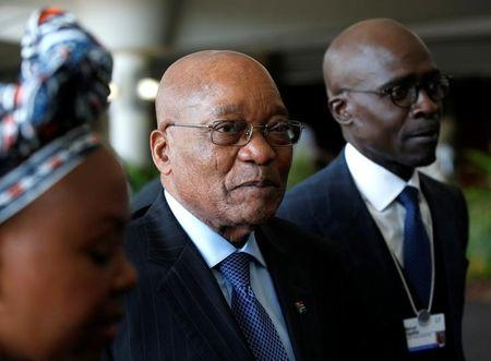 South African President Jacob Zuma tours the World Economic Forum on Africa meeting in Durban