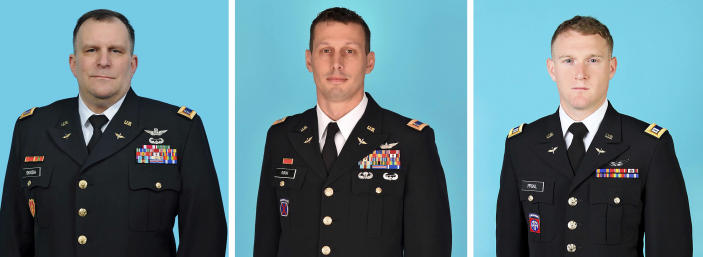 The photos in this combo, released by the New York State Division of Military and Naval Affairs, show the three National Guard members killed when a helicopter crashed in Mendon, NY, Wednesday, Jan. 20, 2021. They are, from left: Chief Warrant Officer 5 Steven Skoda, age 54, from Rochester, NY; Chief Warrant Officer 4 Christian Koch, age 39, from Honeoye Falls, NY; and Chief Warrant Officer Two Daniel Prial, age 30, from Rochester, NY. (New York State Division of Military and Naval Affairs via AP)
