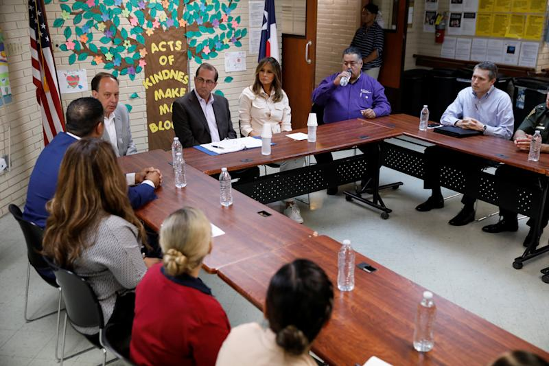 U.S. first lady Melania Trump listens during a roundtable meeting at the Lutheran Social Services of the South