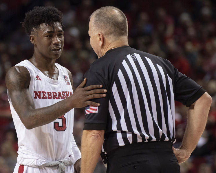 Nebraska guard Cam Mack (3) talks with official Terry Wymer during a break during the second half of the team's NCAA college basketball game against Indiana on Saturday, Jan. 18, 2020, in Lincoln, Neb. (Francis Gardler/Lincoln Journal Star via AP)