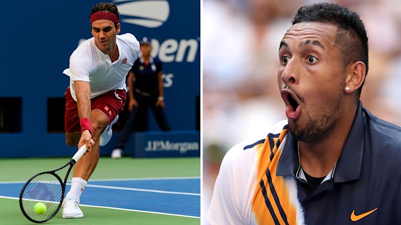 Roger Federer stuns crowd, Nick Kyrgios with unbelievable  shot around net post