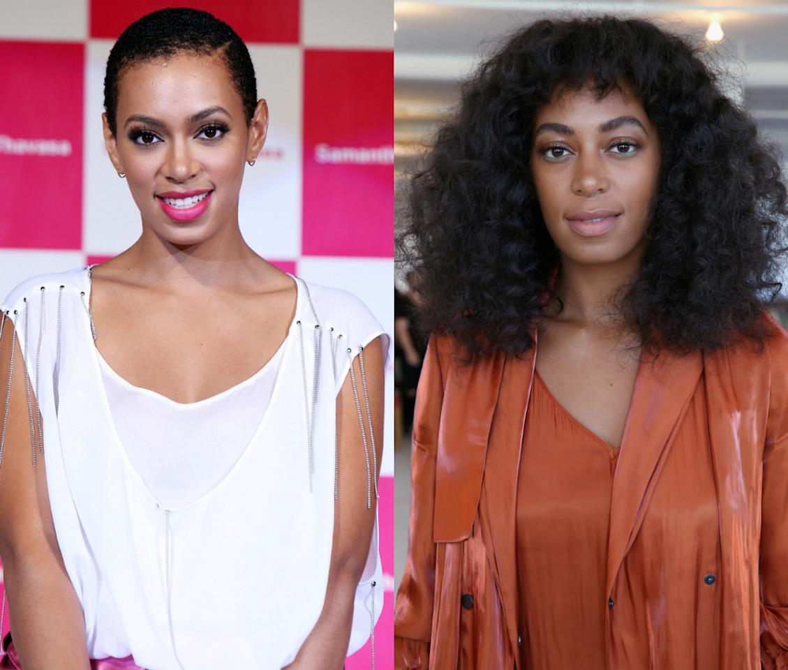 <p>Cast your memory back to 2009 when Solange decided to have a little fun with her hair and shaved it all off. <i> [Photo: Getty]</i></p>