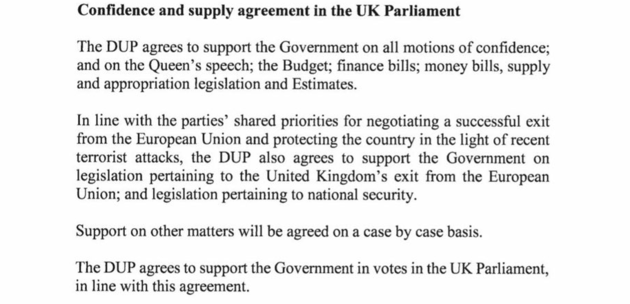 The wording of the Tory-DUP deal