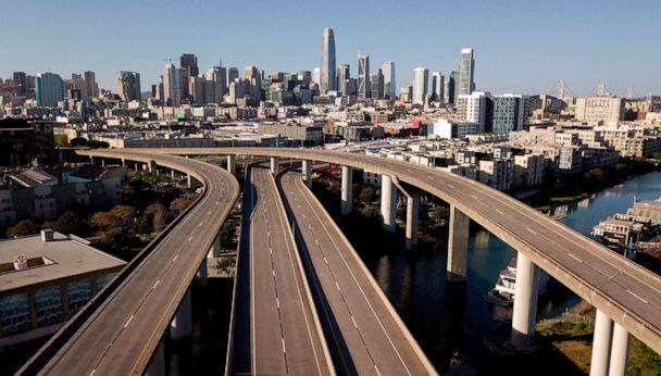 PHOTO: An interstate highway sits empty in San Francisco on April 1, 2020. California residents were ordered to stay at home in an effort to battle the coronavirus pandemic in the nation's most populous state. (Josh Edelson/AFP via Getty Images, FILE.)