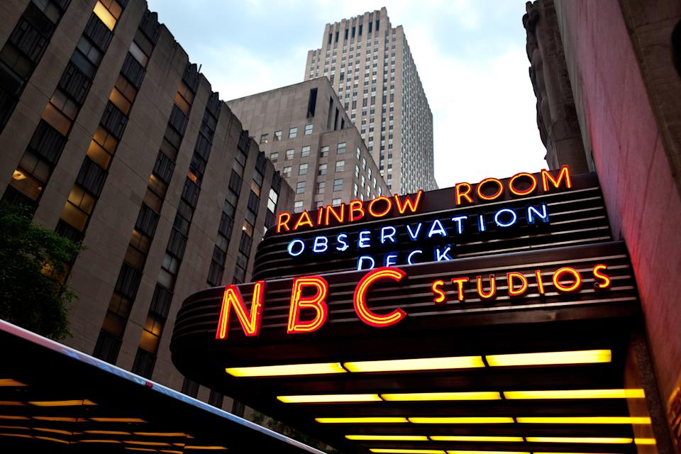 New York, USA - June 10, 2012: View at the entrance to NBC Studios and surrounding buildings. The NBC Studios are located in the historic GE Building on 49th Street, between Fifth and Sixth Avenue in Manhattan, New York.
