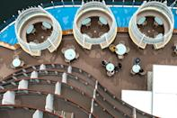 The cruise ship is like a miniature floating city and three football pitches long
