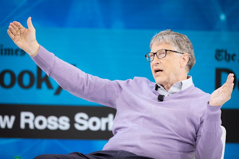 NEW YORK, NEW YORK - NOVEMBER 06: Bill Gates, Co-Chair, Bill & Melinda Gates Foundation speaks onstage at 2019 New York Times Dealbook on November 06, 2019 in New York City. (Photo by Michael Cohen/Getty Images for The New York Times)