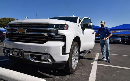 Mark Ary shows off the camera technology on his brand-new, high-end Silverado High Country pickup truck in Decatur, Texas, U.S., February 4, 2019. REUTERS/Nick Carey