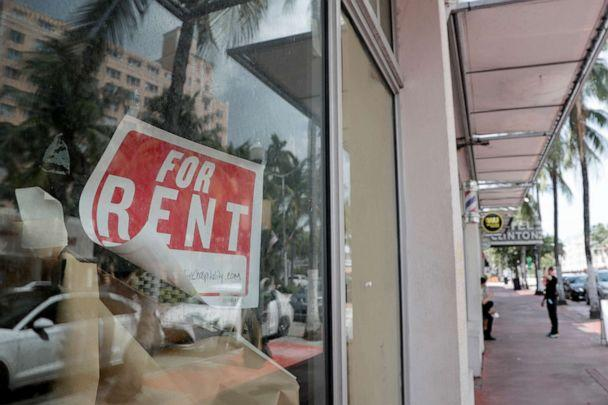 PHOTO: A 'For Rent' sign hangs on a closed shop during the coronavirus pandemic in Miami Beach, Fla., July 13, 2020. (Lynne Sladky/AP)
