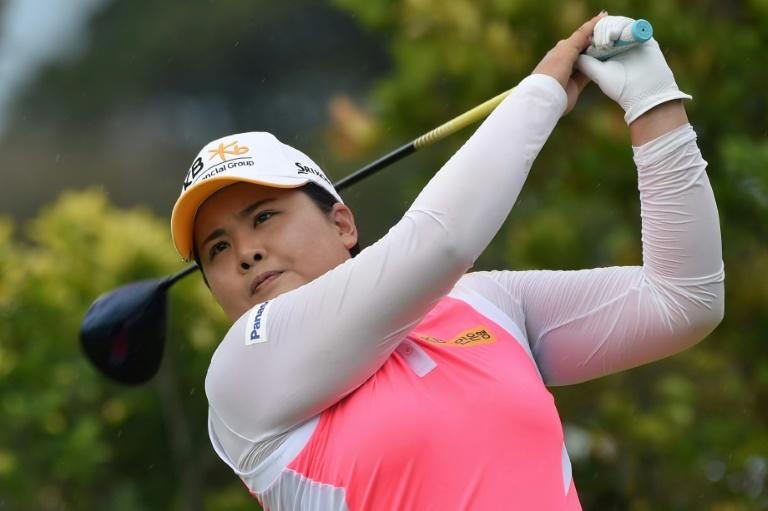 Park In-Bee of South Korea plays a shot during the HSBC Women's Champions golf tournament, at the Sentosa Golf Club in Singapore, on March 3, 2017