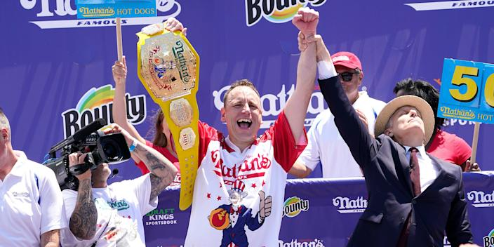 Defending Champion Joey Chestnut wins having consumed 76 hot dogs during the 2021 Nathans Famous Fourth of July International Hot Dog Eating Contest at Coney Island.