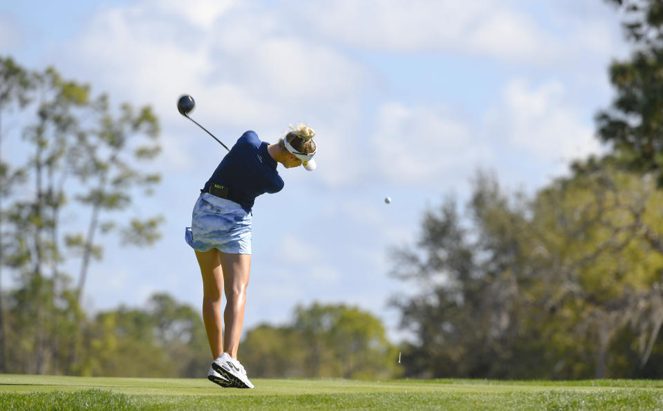 Nelly Korda watches her shot on the second hole during the third round of the Gainbridge LPGA golf tournament Thursday, Sept. 27, 2021, in Orlando, Fla. (AP Photo/Stan Badz)
