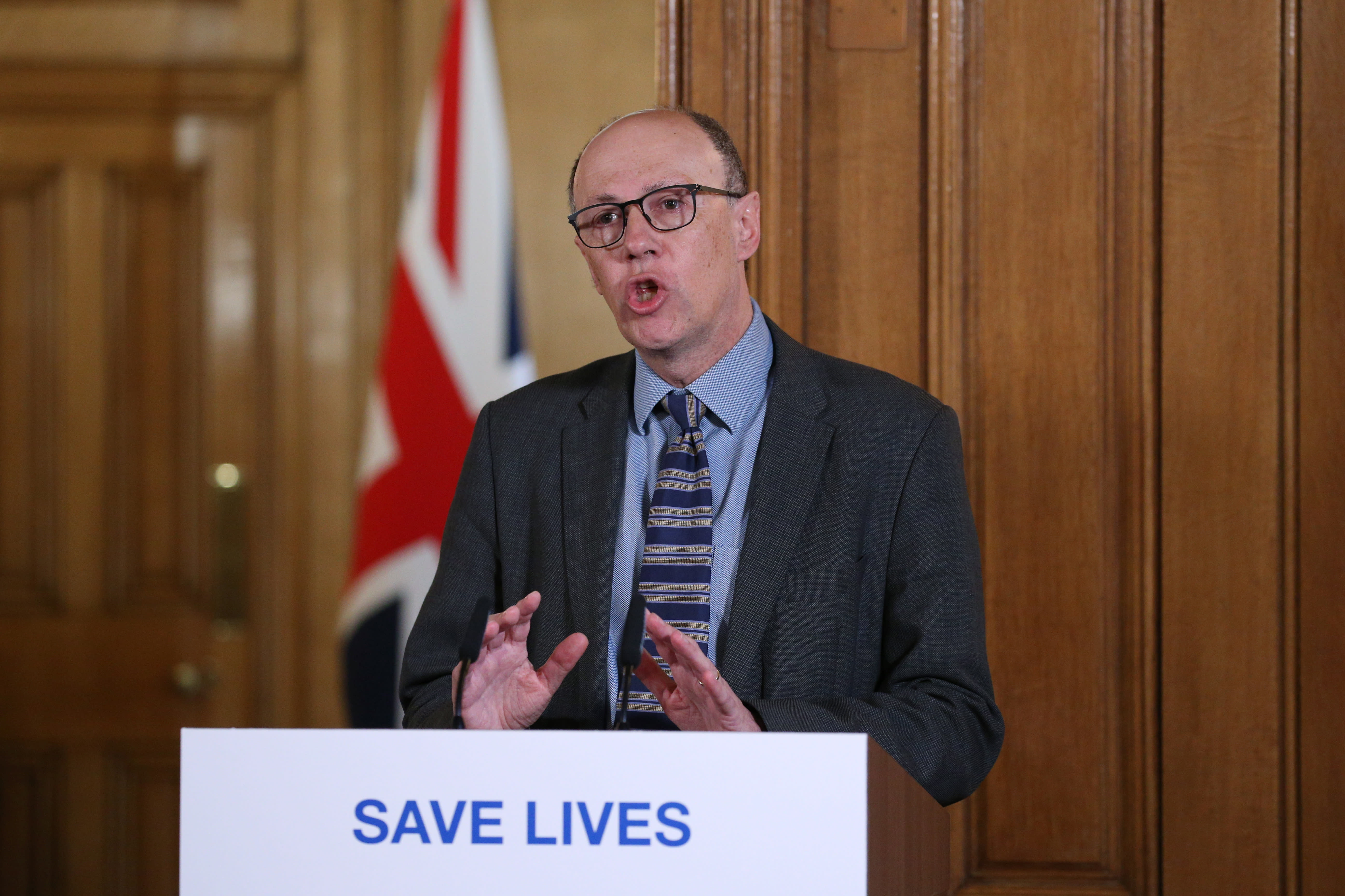 National Medical Director at NHS England Stephen Powis speaks during the daily press conference giving the latest update on the Coronavirus pandemic, at Downing Street in London, Saturday March 21, 2020.. For some people the COVID-19 coronavirus causes mild or moderate symptoms, but for others it causes severe illness. (Jonathan Brady / Pool via AP)