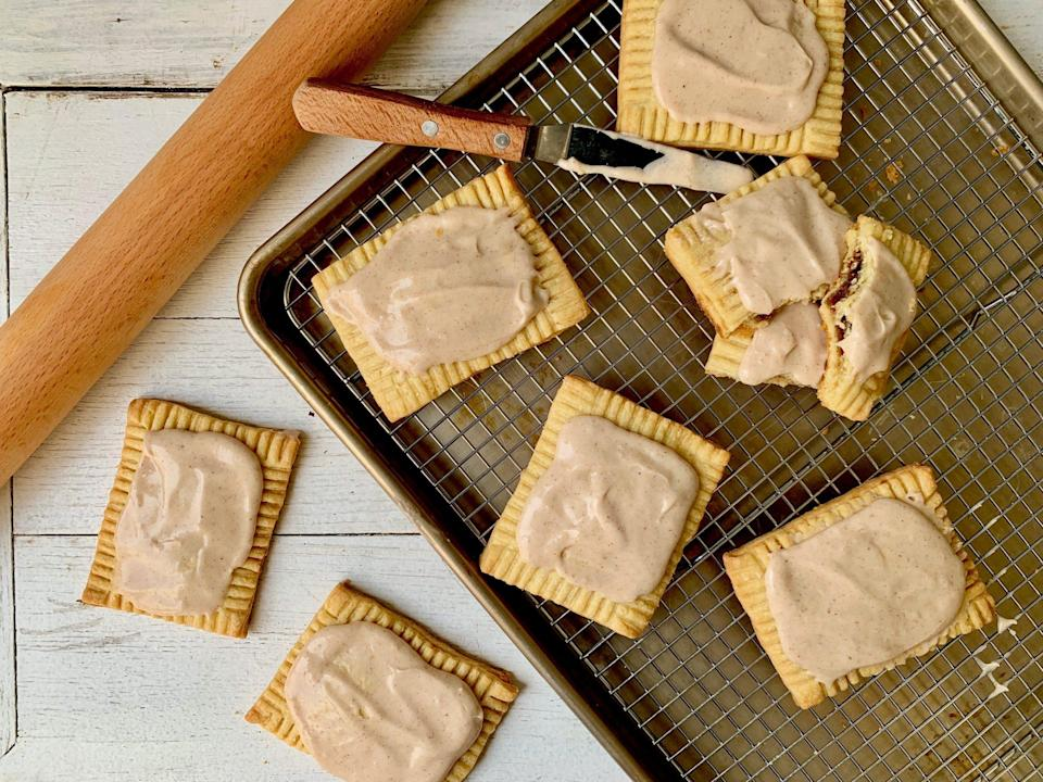 "<p><strong>Recipe: <a href=""https://www.southernliving.com/recipes/homemade-pop-tarts"" rel=""nofollow noopener"" target=""_blank"" data-ylk=""slk:Homemade Pop Tarts"" class=""link rapid-noclick-resp"">Homemade Pop Tarts</a></strong></p> <p>Spend the afternoon making the homemade version of their favorite buttery breakfast pastry.</p>"
