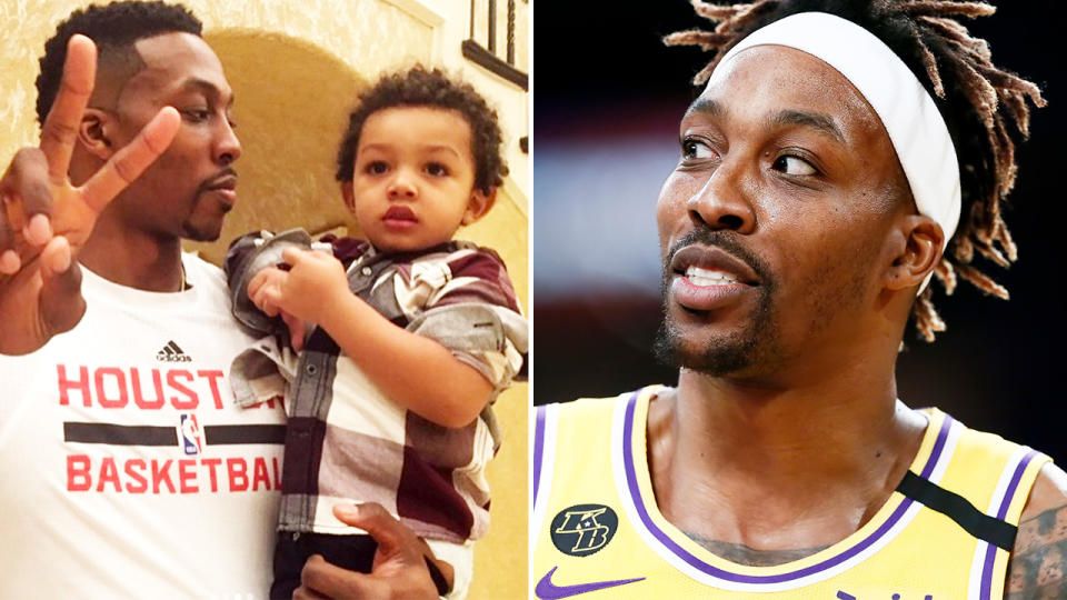 Dwight Howard, pictured here in the NBA and with his son.