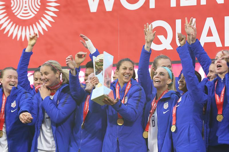 What did we learn from the USWNT's Olympic qualifying tournament? For one, Carli Lloyd (center) is the go-to striker. (Photo by Omar Vega/Getty Images)