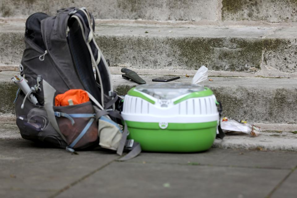 A general view of belongings inspected by forensic experts on St John's Smith Square, after a stabbing incident near the Home Office, in London, Britain August 15, 2019. REUTERS/Simon Dawson