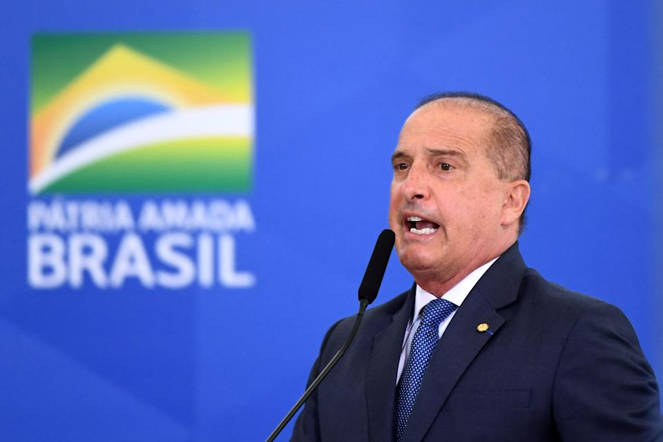 Brazilian Secretary-General of the Presidency, Onyx Lorenzoni, delivers a speech during the signing ceremony of the Provisional Measure to improve the business environment in Brazil, at Planalto Palace in Brasilia, on March 29, 2021. - Brazilian President Jair Bolsonaro faces a severe crisis between his foreign Minister Ernesto Araujo and the National Congress where he is the target of criticism for the way he has conducted the Brazilian foreign policy. (Photo by EVARISTO SA / AFP) (Photo by EVARISTO SA/AFP via Getty Images)