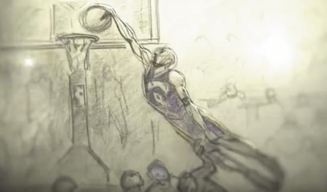 Kobe Bryant in animated action in <i>Dear Basketball</i>. (Image: go90)