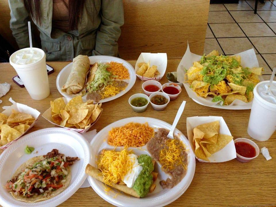 """<p><a href=""""https://www.yelp.com/biz/leonardos-mexican-food-indianapolis"""" rel=""""nofollow noopener"""" target=""""_blank"""" data-ylk=""""slk:Leonardo's Mexican Food"""" class=""""link rapid-noclick-resp"""">Leonardo's Mexican Food</a> in Indianapolis</p><p>This Mexican spot isn't 100% authentic, but it's definitely delicious. Pair chicken fajitas on homemade tortillas with the fresh, brightly colored salsas for a serious flavor punch.</p>"""